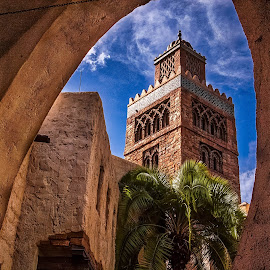 Moroccan Street by Pat Lasley - City,  Street & Park  Street Scenes ( arab, mosque, street, morocco )
