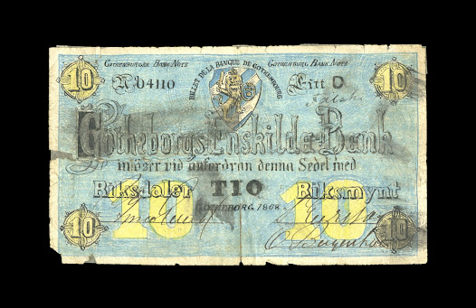 The appearance and feel of money can be central to an individual's willingness to accept it. This hand drawn counterfeit banknote attempted to replicate a printed Swedish 10 riksdaler note. It must have taken a significant amount of time and effort to produce.