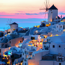 love dream by Olari Ionut - Buildings & Architecture Other Exteriors ( oia santorini sunset blue )