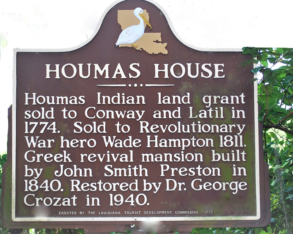 Houmas Indian land grant sold to Conway and Latil in 1774. Sold to Revolutionary War hero Wade Hampton 1811. Greek revival mansion built by John Smith Preston in 1840. Restored by Dr. George Crozat ...