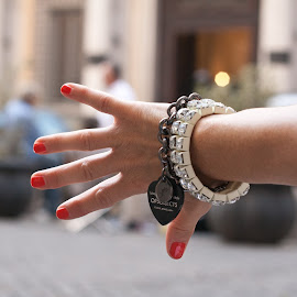 Bracelets and red nails by Gianluca Presto - People Body Parts ( bracelet, hand, stop, heart, red, open hand, chain, bracelets, fingers, chains, red nails, jewelry, nails )