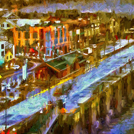 On the wharf by Gaylord Mink - Digital Art Places ( street, buildings, wharf, city )