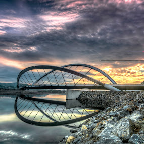 Sunrise @ Putrajaya in HDR by Zack Zaidi - Landscapes Sunsets & Sunrises ( watersport, hdr, waterscape, putrajaya, slowshutter, tourism, malaysia, sunrise, bridge )