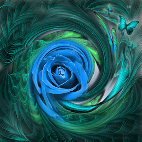 RING by Carmen Velcic - Illustration Abstract & Patterns ( abstract, blue, green, roses, flowers, digital )