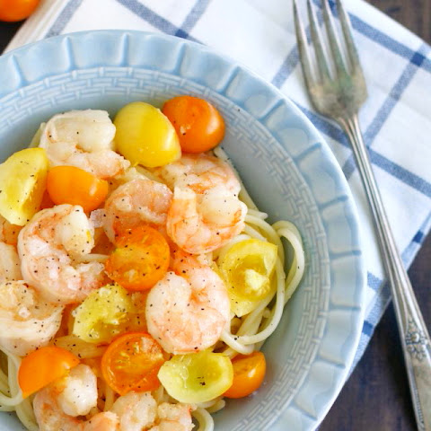 Garlic Shrimp and Fresh Tomato Pasta.