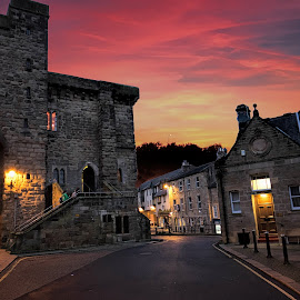 The Abbey Town of Hexham by Phil Robson - City,  Street & Park  Historic Districts ( uk, northumberland, twilight, hexham, dusk )