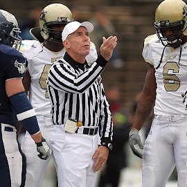 Coin Toss by Keith Johnston - Sports & Fitness American and Canadian football ( teams, football, opponents, coin, referee, action, official, striped, toss, game, stripes, decision, flip, competition )