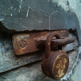 Lock on the Wall ! by Darshan Trivedi - Novices Only Objects & Still Life ( old, lock, rustic, iron, wall, , time scars )