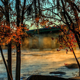 Congaree River Sunrise 2 by Jonathan Wheeler - Landscapes Waterscapes ( columbia sc riverfront, autumn sunrise, fog, congaree river, sunrise, rivers )