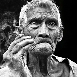Hard life by Shane Cassidy - People Portraits of Men ( balinese, bali, old, farmer, smoker, worker, old man, hard life, man )
