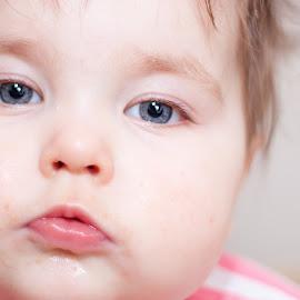 Close Up by Anthony Ashcroft - Babies & Children Babies ( child, studio, cake, flash, tutu, background, white, children, smash, baby, soft )