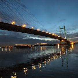 beauty of bridge by Mainak Adak - Buildings & Architecture Bridges & Suspended Structures ( lights, art, architecture, bridge, evening )
