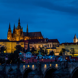 by Mario Horvat - City,  Street & Park  Vistas ( castle, church, night, chatedral, prague, blue hour, lights, tower )