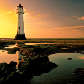 Perch rock revisited. by Bill Avergo - Buildings & Architecture Other Exteriors ( lighthouse, rock, beach, pools, dusk )