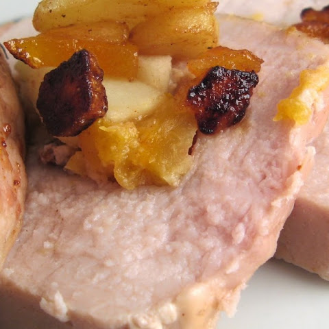 Pork Loin Stuffed with Apples, Apricots and Dried Cherries