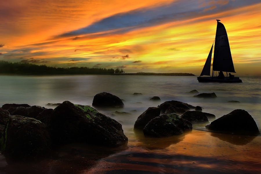 Wishing boat by Mohamad Sa'at Haji Mokim - Digital Art Places ( sunset, boat, people )