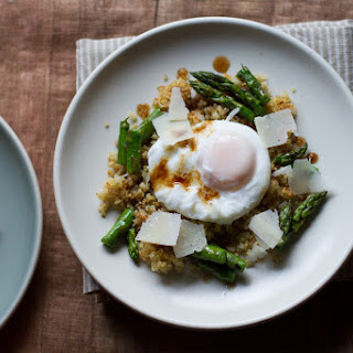 Poached Egg with Crunchy Quinoa and Brown Butter Asaparagus