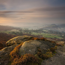 by Martin West - Landscapes Mountains & Hills ( curbar edge, sunrise, heather, peak district, derbyshire, mist, relax, tranquil, relaxing, tranquility )