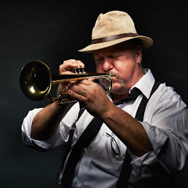 Blow your own Horn by Dennis Bater - People Musicians & Entertainers ( music, jazz, trumpet, man )