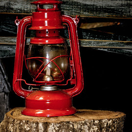 Lantern  by Christy Stanford - Artistic Objects Antiques ( lantern, old, red, stump, wood, lighting, vintage, light )