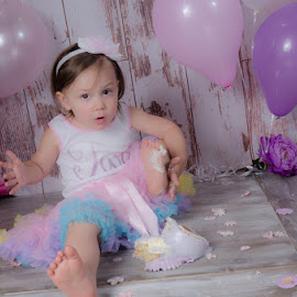 I Smashed My Cake by Chris Cavallo - Babies & Children Child Portraits ( feet, pink, toddler, tutu, balloons, cake, purple, smash,  )