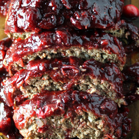 Sweet and Tangy Meatloaf with Balsamic Cranberry Sauce