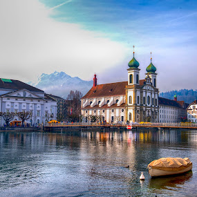 Sights of Lucerne by Pravine Chester - City,  Street & Park  Historic Districts ( water, building, street, architecture, cityscape, landscape, lucerne, river, city,  )
