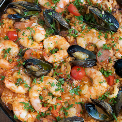 Seafood Paella with Shrimp, Sausage, and Tomatoes