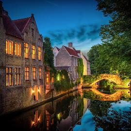 Bruges by Nick Moulds - City,  Street & Park  Historic Districts ( bruges, night, belgium, brugge, canal )