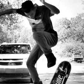 by Kristy Shamburg - Sports & Fitness Skateboarding ( skateboarding, black & white, wheels, bw, boarding, air, skating )