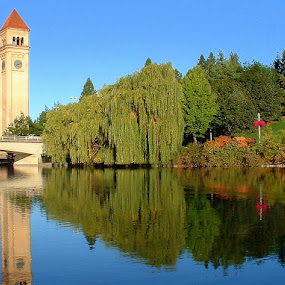 Quiet Morning by Bill Foreman - City,  Street & Park  City Parks ( spokane, riverfront park )
