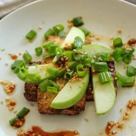 Pan Fried Tofu with Green Apple Slices, Scallions, and a Soy Sesame Dressing