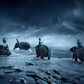 the mahout of the dreamland by Teuku Jody Zulkarnaen - Landscapes Mountains & Hills ( mountain, blue, fog, misty )