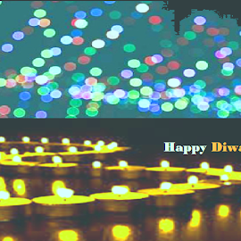 happy Diwali wishes to all by Jayita Mallik - Illustration Holiday ( lights, diwali, night photography, dream, crackers )