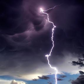 Lightning Bolt in Wyoming by Melanie Metz - Landscapes Weather ( strike, lightning, thunderstorm, mammatus, wyoming, train, cg, storm )