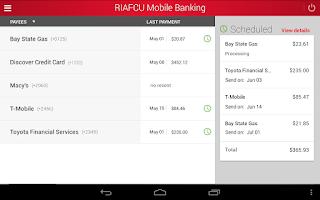 Screenshot of RIAFCU Mobile Banking