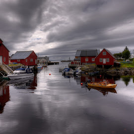 Harmony by Rune Askeland - City,  Street & Park  Neighborhoods ( clouds, canon, boats, reflections, harmony, norge, bud, boathouses, norway, møre&romsdal )