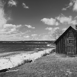 Lake Superior by Jolie Ritchie - Black & White Landscapes ( old, frozen, cabin, lake, water, building )