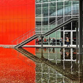 Fiera Rho - Salone del Mobile - Milano by Stefano Rho - Buildings & Architecture Architectural Detail ( water, milan, stair, isaloni, steps, architecture, fiera, salone, red, salonemobile, milano, italy, reflex )