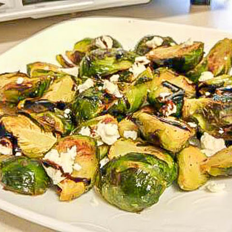 Roasted Brussels Sprouts with Balsamic Glaze & Goat Cheese