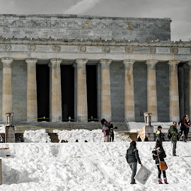 Re-purposed  by Hugh Clarke - Buildings & Architecture Statues & Monuments ( lincoln memorial, igdc, winter solace, winterstorm jonas, clarke photo studios, acreative dc, winter, snow, blizzard 2016, hugh a clarke 2016, sony photo, snow day, sony a7s, january 2016, fotodc )