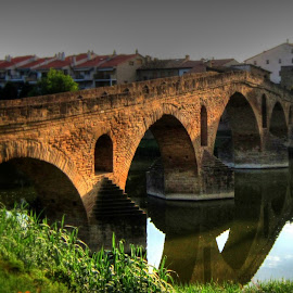 Bridge at Puente de la Reina by John Mattingly - Buildings & Architecture Bridges & Suspended Structures ( bridge, architecture, landscape )