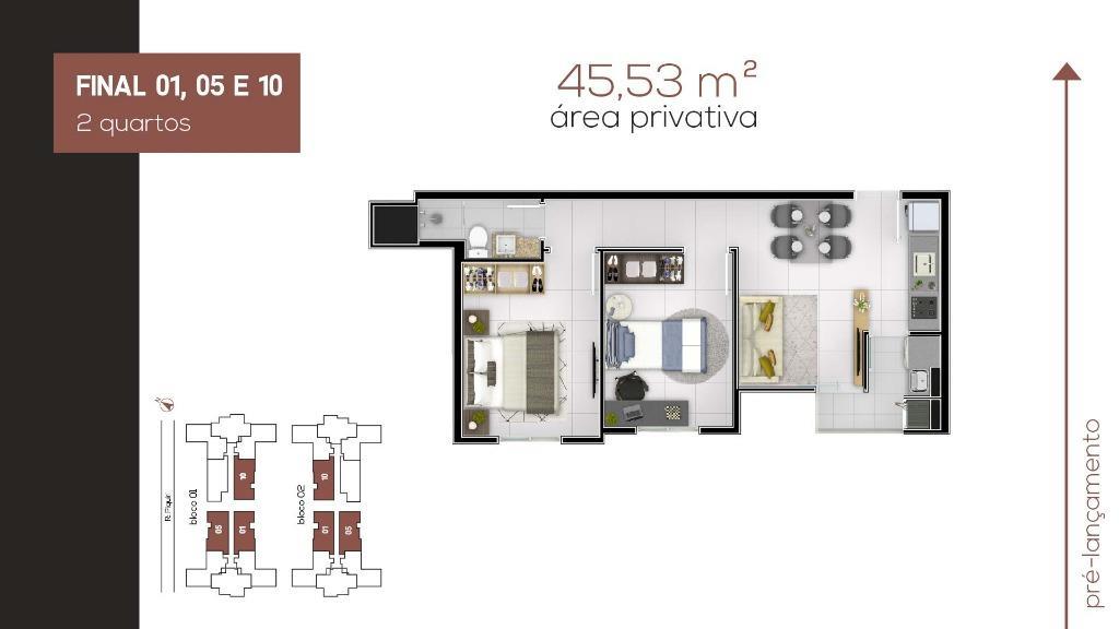 Apartamento com 2 dormitórios à venda, 45 m² por R$ 172.900 - Planta Bairro Weissópolis - Pinhais/PR