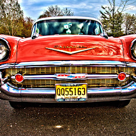 HEAD ON 57 by Don Webb - Transportation Automobiles ( 57 chevy, classic car, grill, head lights )