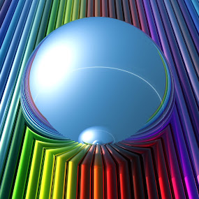 Chroma by Lyle Hatch - Illustration Abstract & Patterns ( abstract, mirror, cylinders, colorful, shadow, digital realism, bryce, sphere, reflections, chroma, light, three dimensional, rendering )