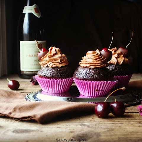 Chocolate Espresso Cupcakes with Chocolate Covered Cherries