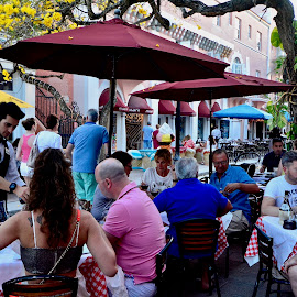 by Victoria Eversole - City,  Street & Park  Historic Districts ( al fresco dining, miami beach dining, italian restaurants, people watching )