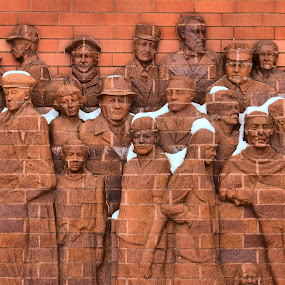 The People of Danville, IL by Virginia Folkman - City,  Street & Park  Historic Districts ( sculpture, art, cityscape, people, downtown, city )
