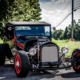 Ford Hotrod by Liam Douglas - Transportation Automobiles ( car, old, red, vintage, green, coupe, hotrod, trees, ford, antique, black,  )