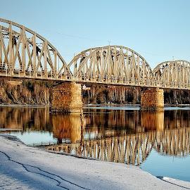 Railroad bridge by Jon Eggen - Buildings & Architecture Bridges & Suspended Structures ( railway, glomma, ice, railroad, norge, bridge, fetsund, sun, norway, river )